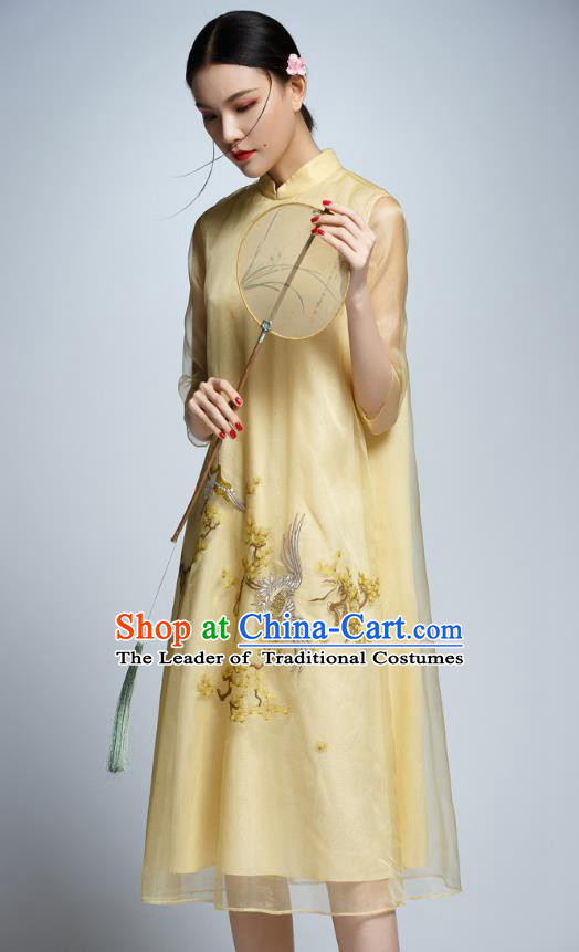 Chinese Traditional Embroidered Yellow Organza Cheongsam China National Costume Tang Suit Qipao Dress for Women