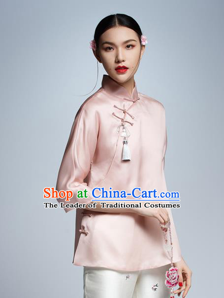 Chinese Traditional Costume Pink Silk Cheongsam Blouse China National Upper Outer Garment Shirt for Women