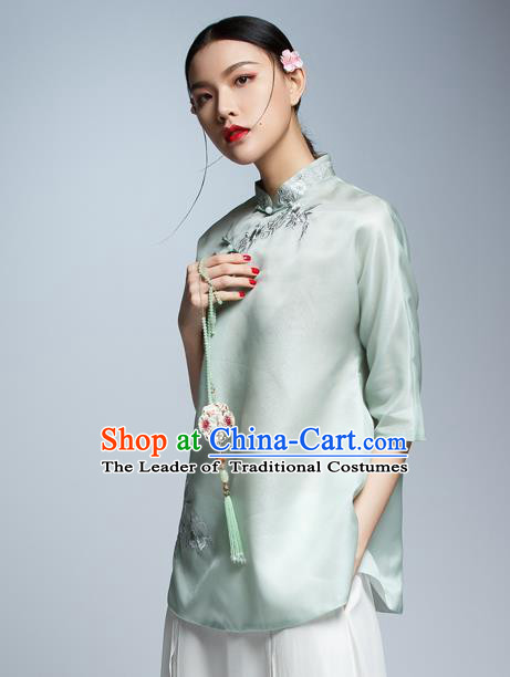 Chinese Traditional Costume Green Silk Cheongsam Blouse China National Upper Outer Garment Shirt for Women