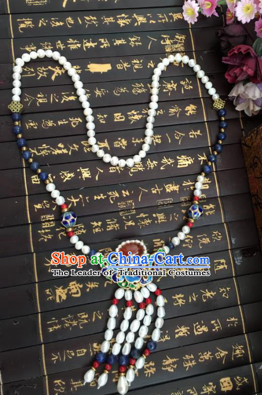 Chinese Traditional Jewelry Accessories Ancient Hanfu Blueing Necklace for Women