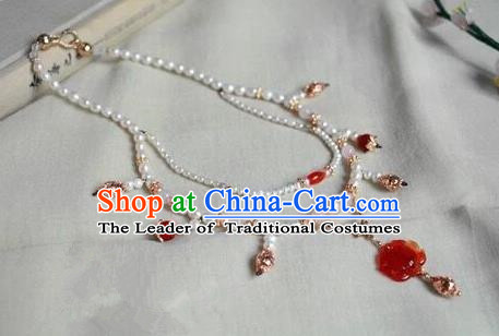 Chinese Traditional Jewelry Accessories Ancient Hanfu Agate Lotus Necklace for Women