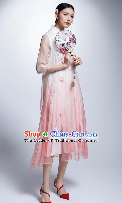 Chinese Traditional Embroidered Butterfly Flowers Pink Cheongsam China National Costume Tang Suit Qipao Dress for Women