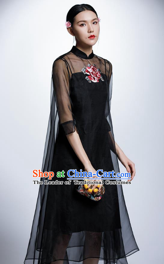 Chinese Traditional Embroidered Peony Black Cheongsam China National Costume Tang Suit Qipao Dress for Women