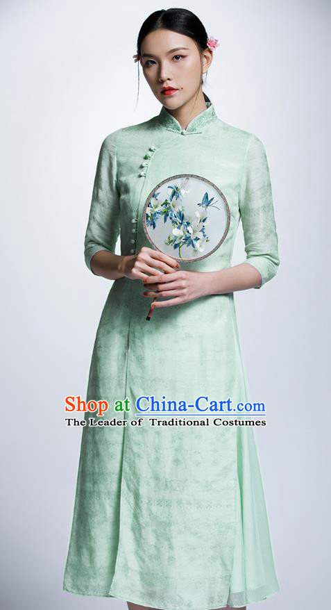 Chinese Traditional Costume Green Cheongsam China National Tang Suit Qipao Dress for Women