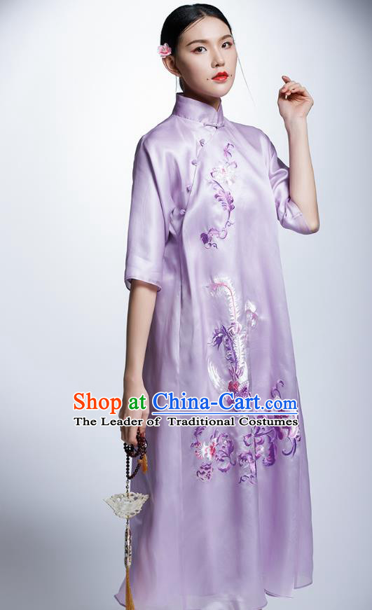 Chinese Traditional Costume Embroidered Purple Cheongsam China National Tang Suit Qipao Dress for Women