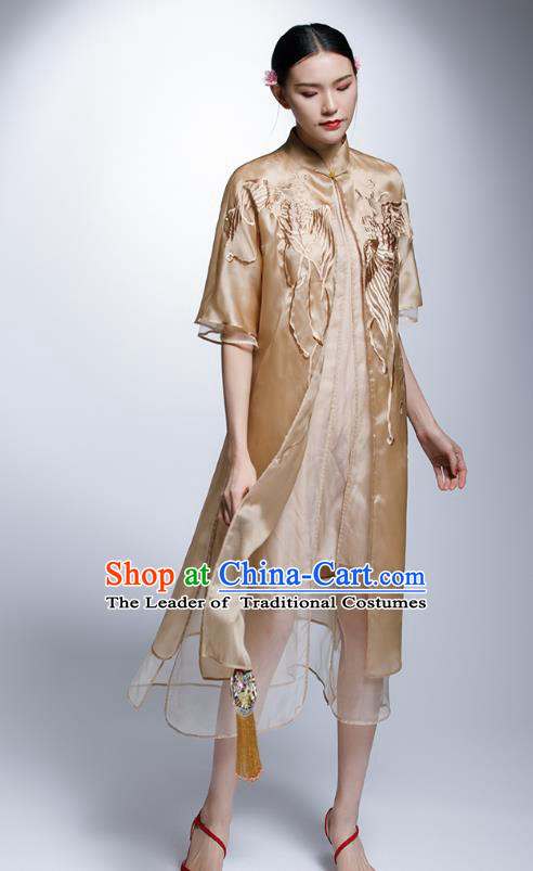 Chinese Traditional Costume Embroidered Golden Cheongsam China National Tang Suit Qipao Dress for Women