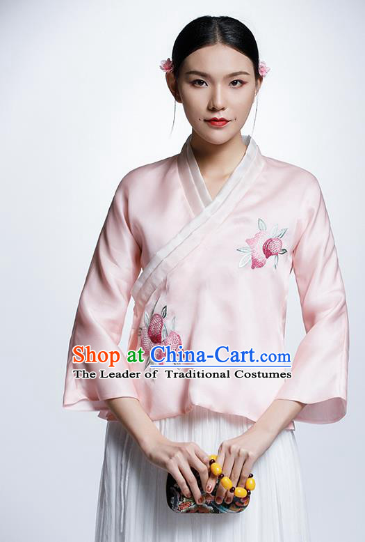 Chinese Traditional Tang Suit Pink Blouse China National Upper Outer Garment Cheongsam Shirt for Women