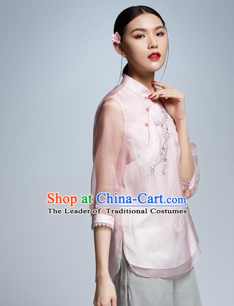 Chinese Traditional Costume Embroidered Plum Blossom Pink Cheongsam Blouse China National Upper Outer Garment Shirt for Women