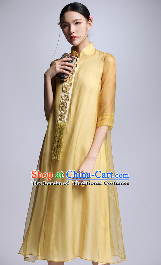 Chinese Traditional Tang Suit Embroidered Yellow Cheongsam China National Qipao Dress for Women