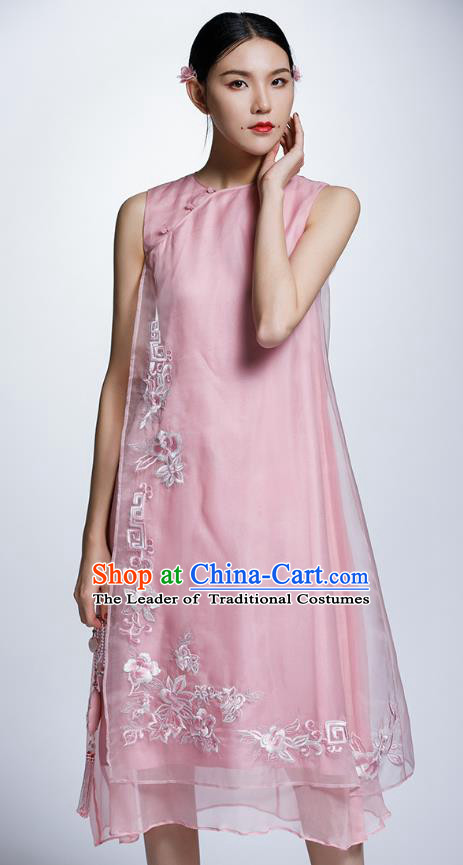 Chinese Traditional Embroidered Flowers Pink Cheongsam China National Costume Tang Suit Qipao Dress for Women