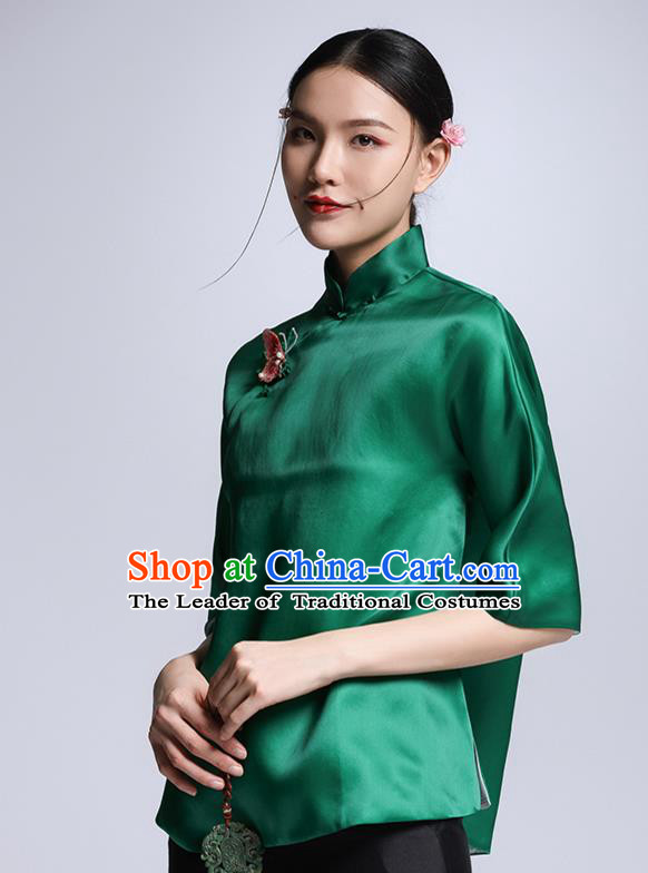 Chinese Traditional Tang Suit Green Silk Blouse China National Upper Outer Garment Cheongsam Shirt for Women