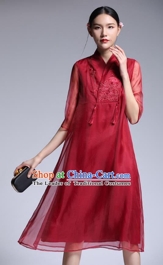 Chinese Traditional Tang Suit Embroidered Red Cheongsam China National Qipao Dress for Women