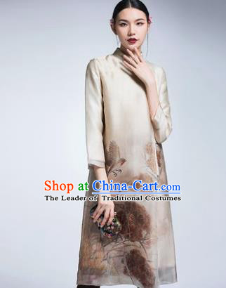 Chinese Traditional Tang Suit Printing Lotus Beige Cheongsam China National Qipao Dress for Women