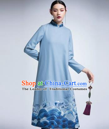 Chinese Traditional Tang Suit Blue Woolen Cheongsam China National Qipao Dress for Women