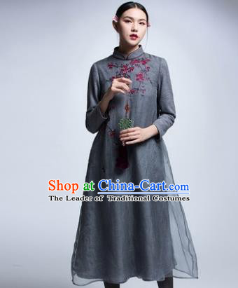 Chinese Traditional Tang Suit Grey Woolen Cheongsam China National Qipao Dress for Women