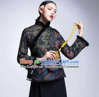 Chinese Traditional Tang Suit Cotton-Padded Jacket China National Upper Outer Garment Cheongsam Shirt for Women