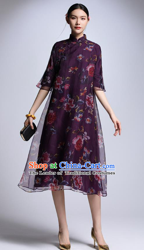 Chinese Traditional Tang Suit Printing Peony Purple Cheongsam China National Qipao Dress for Women