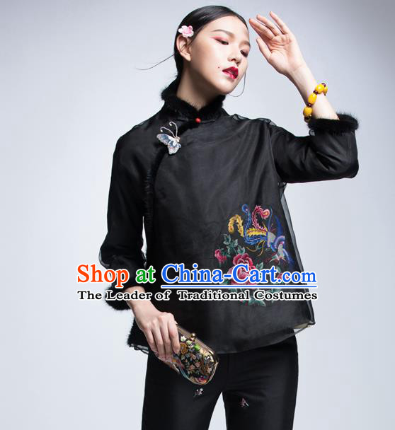 Chinese Traditional Tang Suit Black Cotton-Padded Jacket China National Upper Outer Garment Cheongsam Shirt for Women