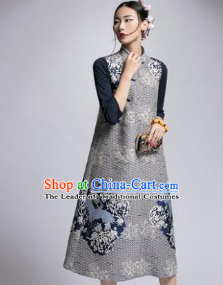 Chinese Traditional Tang Suit Embroidered Grey Cheongsam China National Qipao Dress for Women