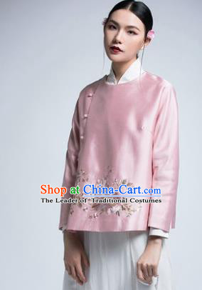 Chinese Traditional Tang Suit Pink Silk Coat China National Upper Outer Garment Shirt for Women