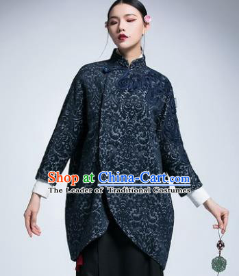 Chinese Traditional Tang Suit Navy Jacket China National Upper Outer Garment Cheongsam Coat for Women
