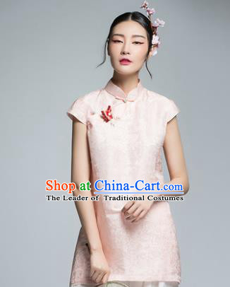 Chinese Traditional Tang Suit Pink Blouse China National Upper Outer Garment Shirt for Women