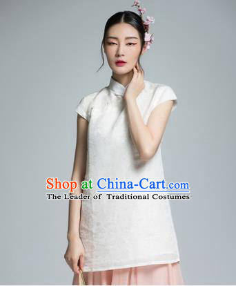 Chinese Traditional Tang Suit White Blouse China National Upper Outer Garment Shirt for Women