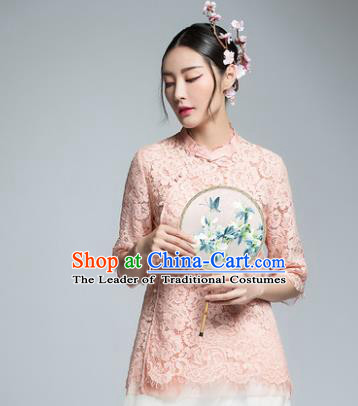 Chinese Traditional Tang Suit Pink Lace Blouse China National Upper Outer Garment Shirt for Women