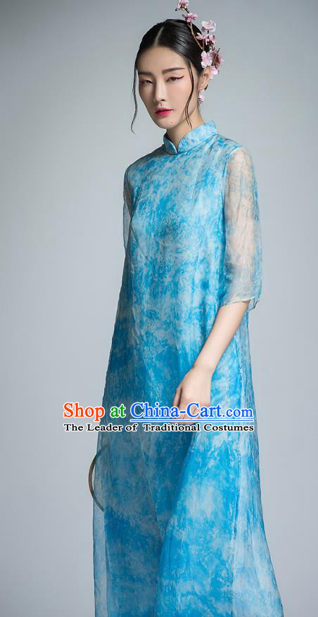 Chinese Traditional Tang Suit Blue Organza Cheongsam China National Qipao Dress for Women