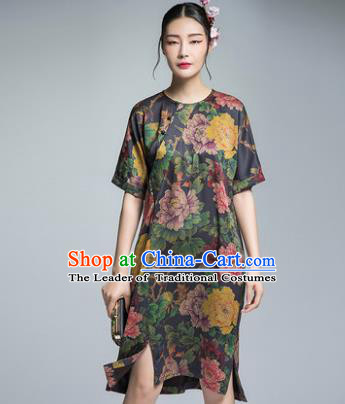 Chinese Traditional Tang Suit Printing Peony Cheongsam China National Qipao Dress for Women