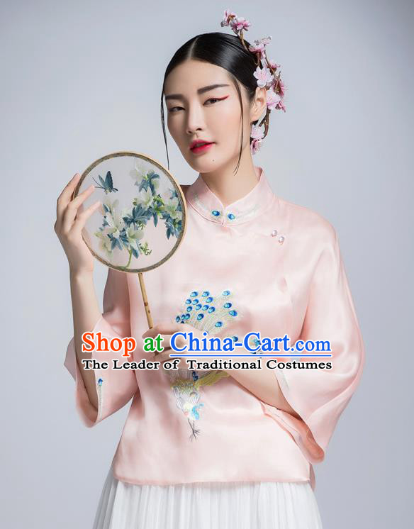 Chinese Traditional Tang Suit Pink Silk Blouse China National Upper Outer Garment Shirt for Women