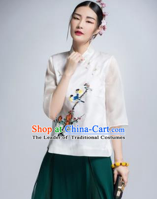 Chinese Traditional Tang Suit White Silk Blouse China National Upper Outer Garment Shirt for Women