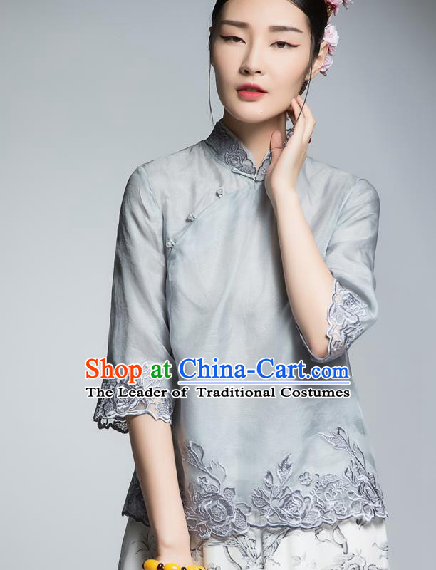 Chinese Traditional Tang Suit Embroidered Grey Blouse China National Upper Outer Garment Shirt for Women