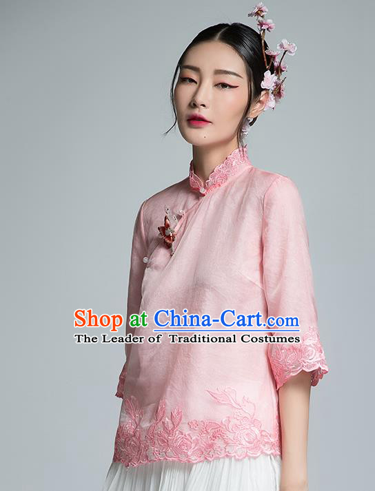 Chinese Traditional Tang Suit Embroidered Pink Blouse China National Upper Outer Garment Shirt for Women