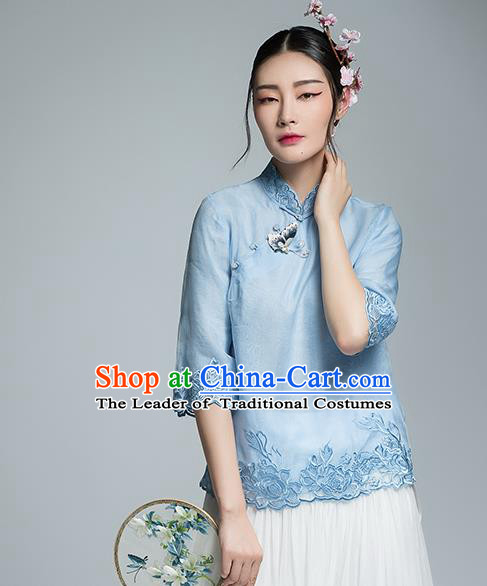 Chinese Traditional Tang Suit Embroidered Blue Blouse China National Upper Outer Garment Shirt for Women