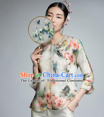Chinese Traditional Tang Suit Printing Silk Blouse China National Upper Outer Garment Shirt for Women