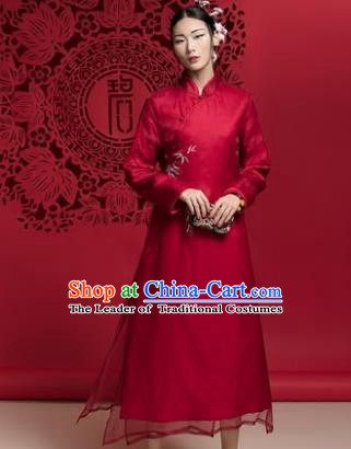Chinese Traditional Tang Suit Red Cheongsam China National Qipao Dress for Women