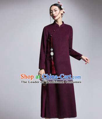 Chinese Traditional Tang Suit Purple Woolen Cheongsam China National Qipao Dress for Women