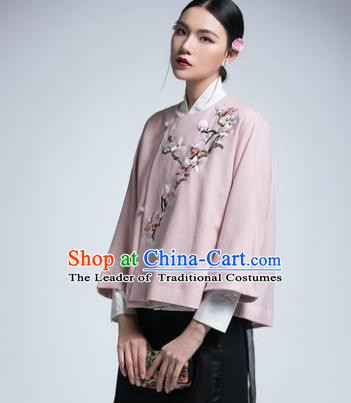 Chinese Traditional Tang Suit Pink Jacket China National Upper Outer Garment Cheongsam Shirt for Women