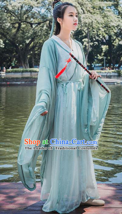 Traditional Chinese Jin Dynasty Swordsman Green Hanfu Dress Ancient Princess Costume for Women