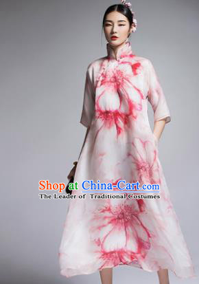 Chinese Traditional Tang Suit Printing Cheongsam China National Qipao Dress for Women