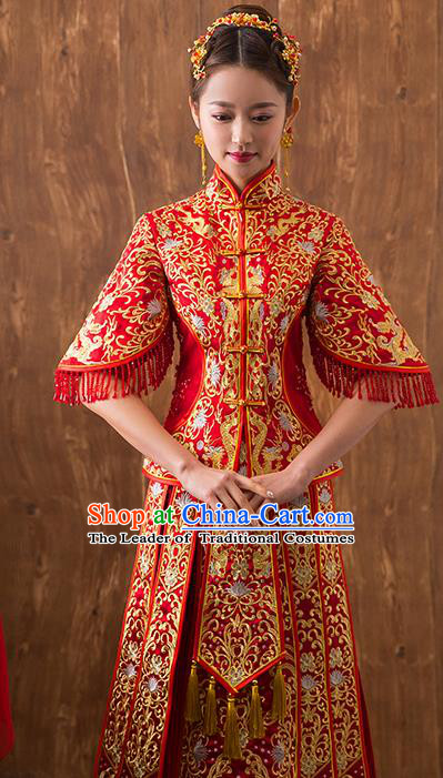 Traditional Chinese Embroidered Bottom Drawer Xiuhe Suit Ancient Wedding Dress Toast Red Cheongsam for Women