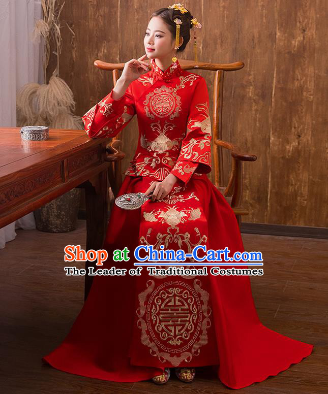 Traditional Chinese Ancient Embroidered Bat Bottom Drawer Xiuhe Suit Wedding Dress Toast Red Cheongsam for Women