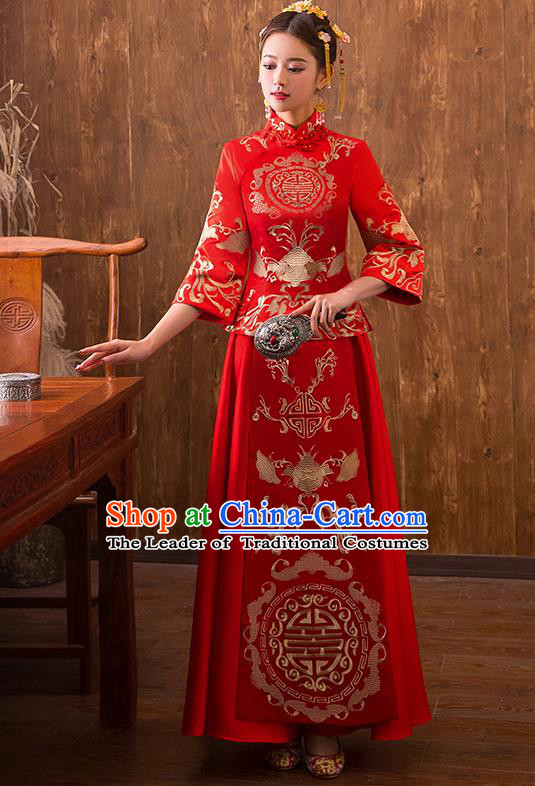 Traditional Chinese Ancient Bottom Drawer Embroidered Bat Xiuhe Suit Wedding Dress Toast Red Cheongsam for Women