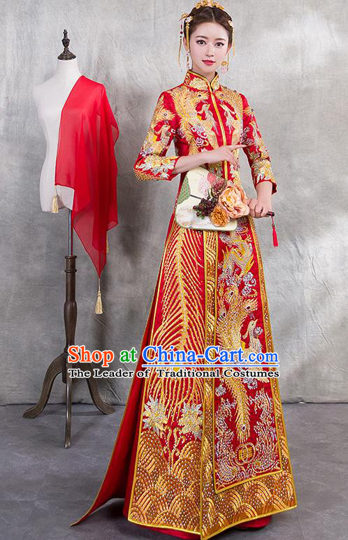 Traditional Chinese Ancient Trailing Diamante Bottom Drawer Embroidered Phoenix Xiuhe Suit Wedding Dress Toast Red Cheongsam for Women