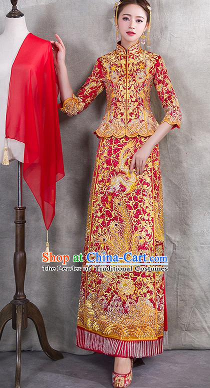 Traditional Chinese Ancient Diamante Bottom Drawer Embroidered Phoenix Xiuhe Suit Wedding Dress Toast Red Cheongsam for Women