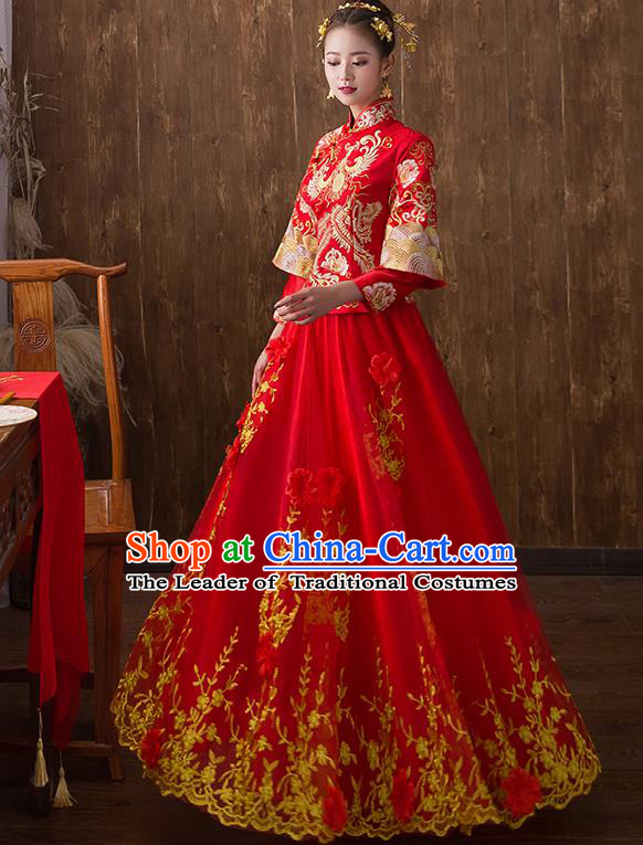 Traditional Chinese Ancient Embroidered Flowers Phoenix Bottom Drawer Xiuhe Suit Wedding Dress Toast Cheongsam for Women