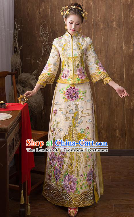 Traditional Chinese Ancient Yellow Diamante Toast Cheongsam Embroidered Peony Bottom Drawer Xiuhe Suit Wedding Dress for Women