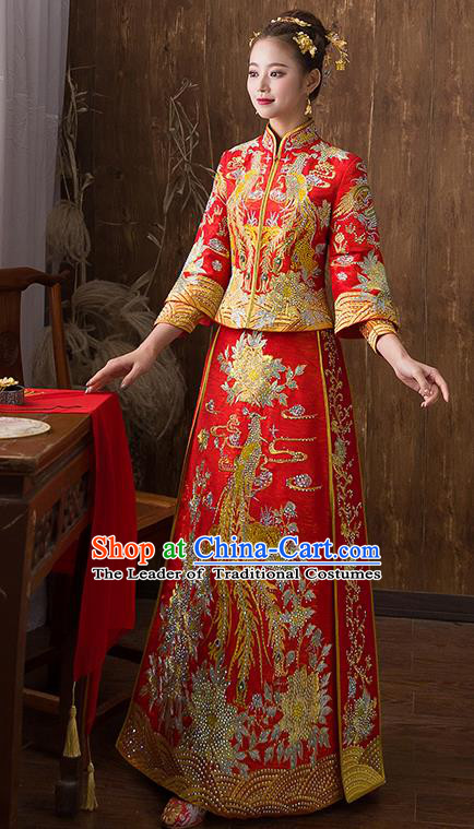 Traditional Chinese Ancient Red Diamante Toast Cheongsam Embroidered Peony Bottom Drawer Xiuhe Suit Wedding Dress for Women