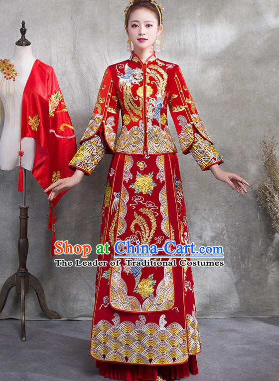Traditional Chinese Ancient Red Toast Cheongsam Embroidered Phoenix Bottom Drawer Xiuhe Suit Wedding Dress for Women